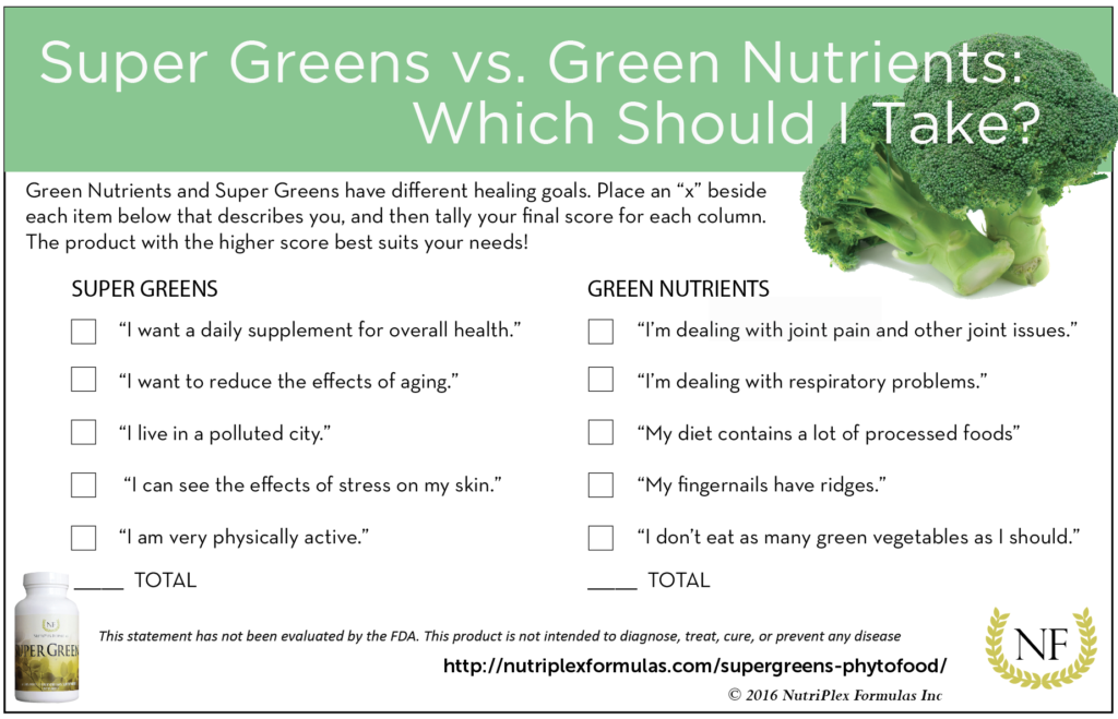 super greens green nutrients nutritional survey